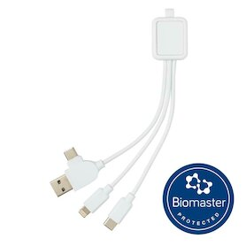 6-in-1 antimikrobielles Kabel, weiß
